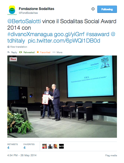 Sodalitas Social Award 2014 für  #divanoXmanagua Berto.