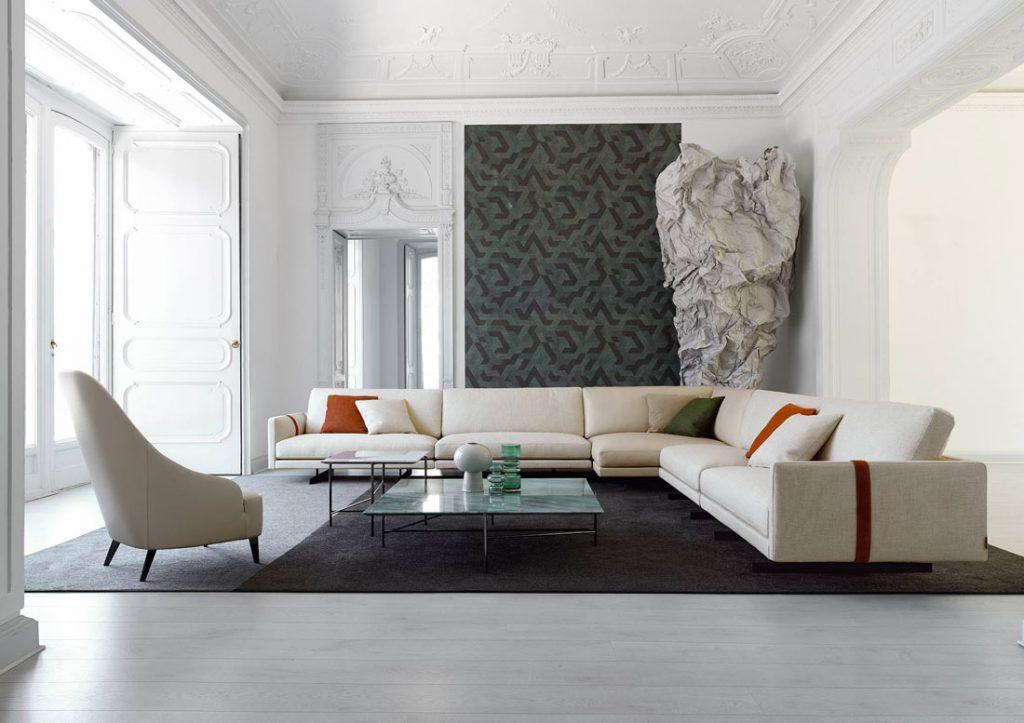 BertO Salotti Sofa und Sessel Beige