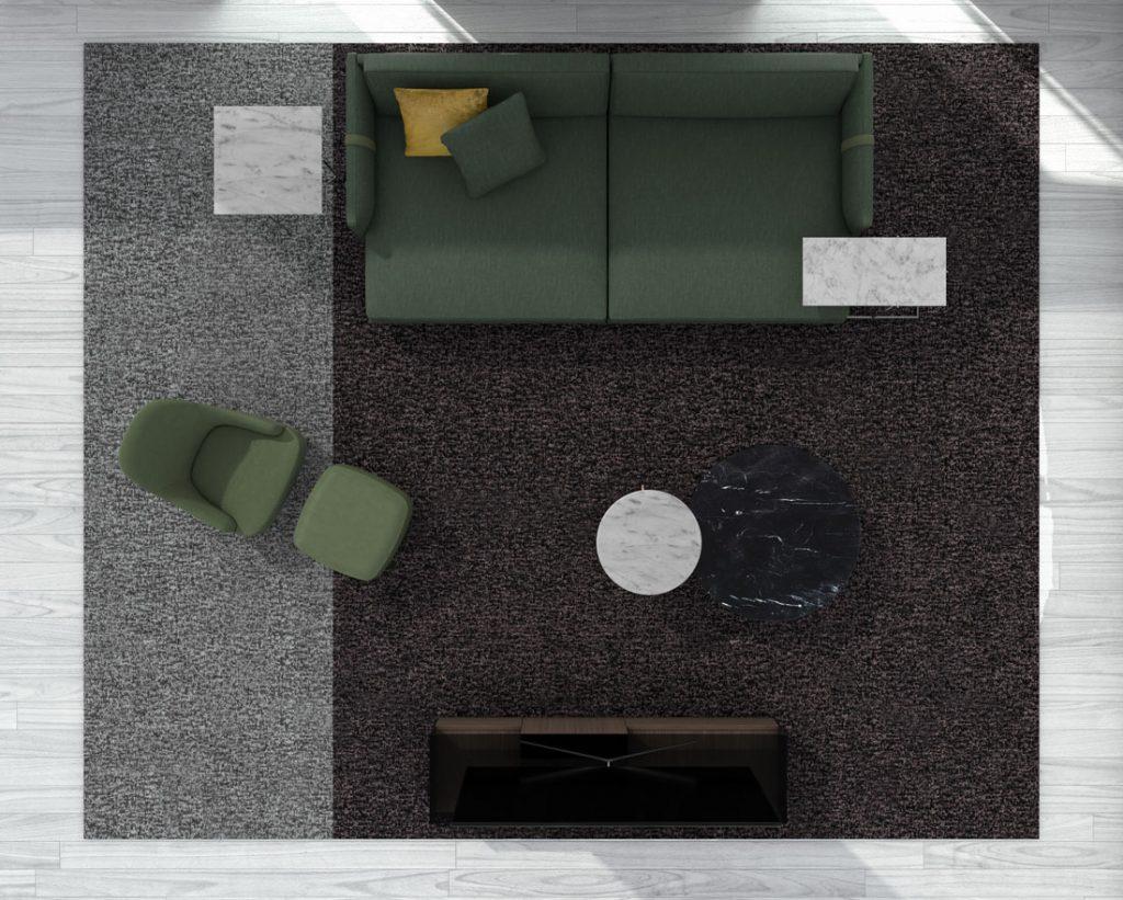 Tiefes Sofa Dee Dee von BertO mit Accessoires aus der BertO-Kollektion 2021