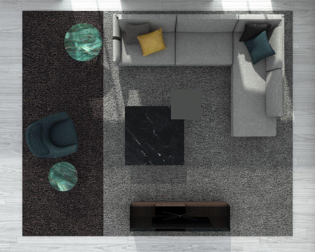 Dee Dee modernes Sofa von BertO mit Accessoires aus der BertO-Kollektion 2021