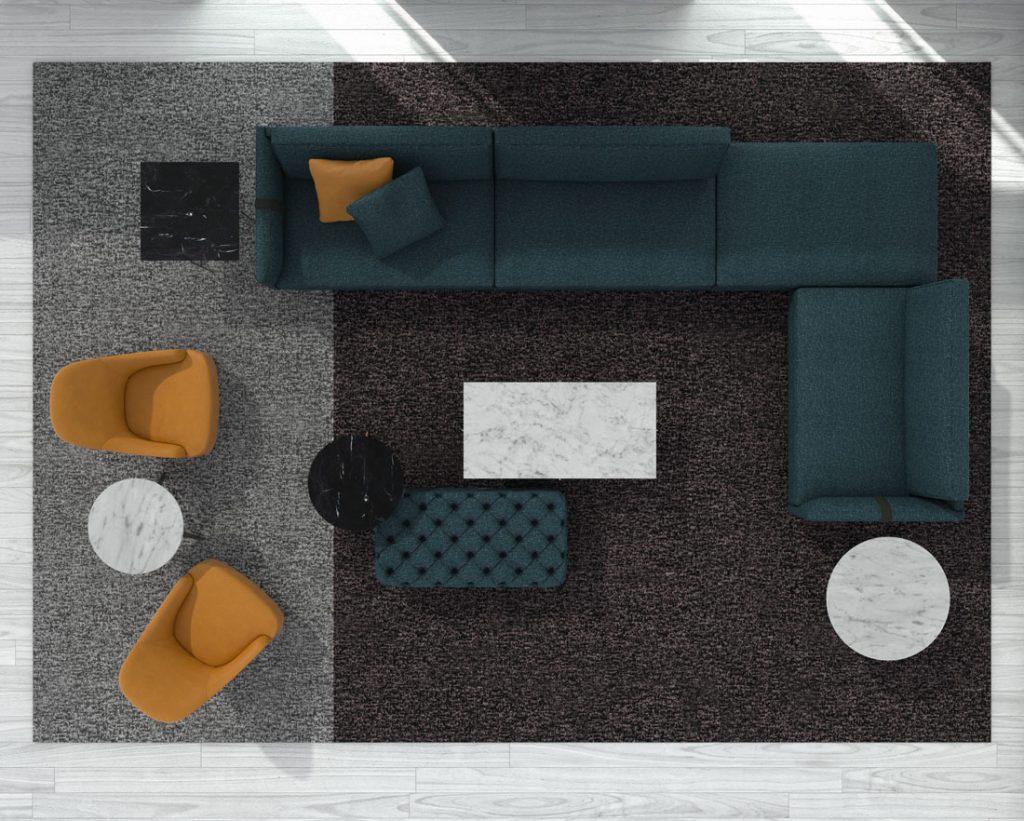 Design-Sofa Dee Dee von BertO mit Accessoires aus der BertO-Kollektion 2021