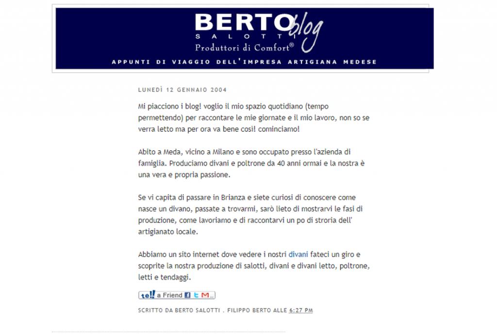 Berto Blog erster Blog von Berto Salotti vom 2004